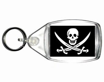 keyring double sided - pirate - skull and cross swords , keychain, keyfob - - novelty funny new keychain key ring