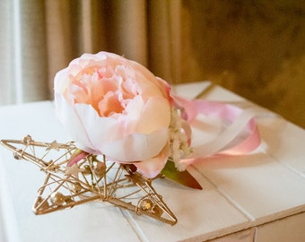 Flower girls flower wand in gold silver or cream with blush pink peony head, gypsophilia clusters and ribbon.