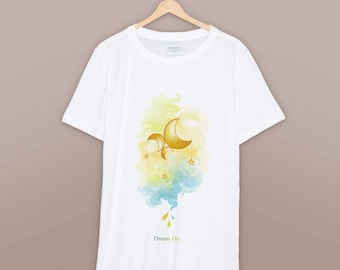 Hand-painted unisex t-shirt Cotton everyday T-shirt Hand-painted with textile dyes Inspired by Don't Leave Me Vector art
