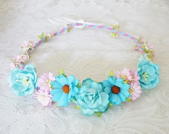 Flower crown blue pink Rose daisy flower paper Mulberry paper Flower headband ,Bridal headpiece, Floral crown ribbon tie back