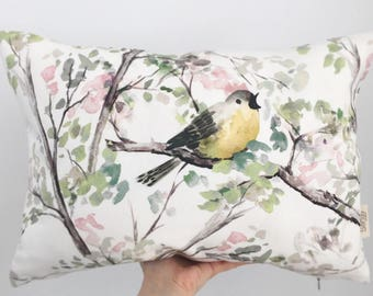 "Singing Bird Linen Throw Pillow Cover, 13""x18"" Rectangular Pillow Cover Unique Cushion Watercolor Design, Eco Friendly Handmade in Canada"