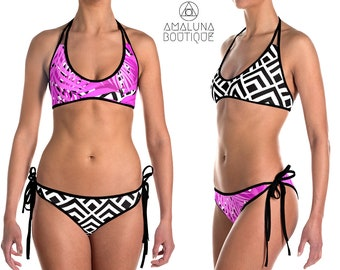 Bikini set, Reversible bikini, String bikini, Pink Swimwear, Womens 2 piece swimsuit, Festival Clothing, Cheeky Bikini Bottom, Beach Wear