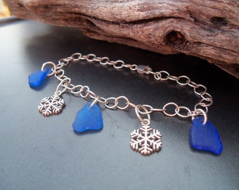 Sea glass jewelry,  Celebrate winter with cobalt blue sea glass and snowflake bracelet