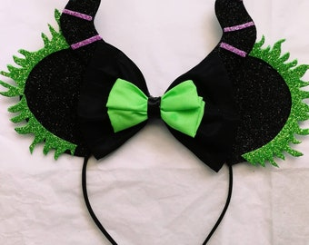 Maleficent Disney Villain glitter Minnie Ears.
