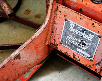 "Rusty Orange Automobile Floor Jack Photograph - 9x12 Coral ""Screwball"" Jack Photo -  Industrial Automobiliana - Documentary Photography"