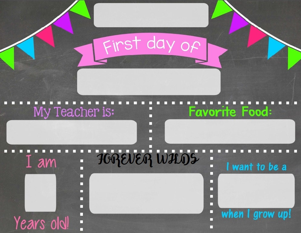First & Last day of school chalkboard - Chalkboard sign - print and ...