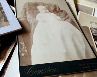 Antique Sepia Baby Photograph, Vintage Ephemera, Cabinet Card, CDV, Studio Portrait, Scrapbooking