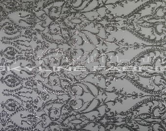 White Silver Stretch Sequin Lace Fabric By The Yard