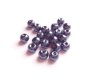 Set of 20 dark blue pearls 6mm