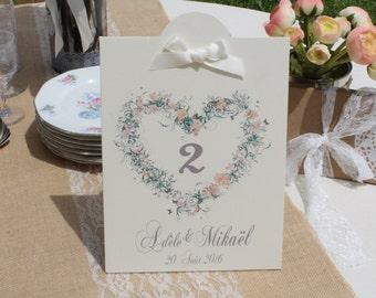 Number of table wedding Crown flower champêtre