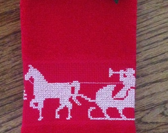 Cross Stitched Fingertip Towel