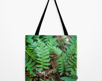 Tote Bag, Green and Brown, Nature Photography, Fern Photo, Boundary Waters, Minnesota Image, Farmers Market, Yoga, Book, Small, Large Purse