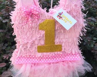 1st Birthday Pink Girlie Pinata Ballerina Theme