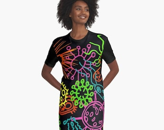 Groovy Microbes T-Shirt Dress  XS S M L XL 2XL Microbiology Science Medicine Clothes Fashion Woman Teen Ladies Dress Wearable Art Clothing