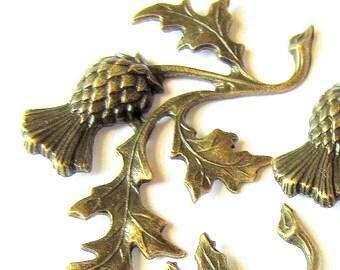 8 Bronze thistle charm jewelry supply scrapbook trim wedding tags decoration 43mm 41mm