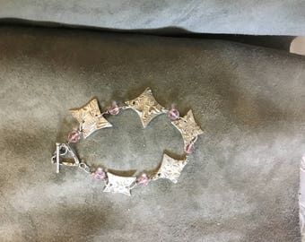 99.9% Pure Silver with Pink Swarovski Crystals and Sterling Silver Toggle Bracelet