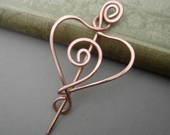 Spiral Heart Copper Shawl Pin, Scarf Pin, Sweater Fastener, Shrug Closure, Copper Brooch, Crochet Gift Heart Pin, Knitters Gift Women