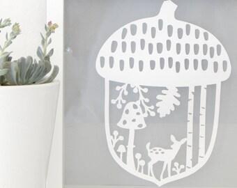 Acorn art. Acorn paper cut. Deer in woods. Fawn wall decor. Forest scene paper cut. Fawn woodland paper cut. Woodland nursery decor.
