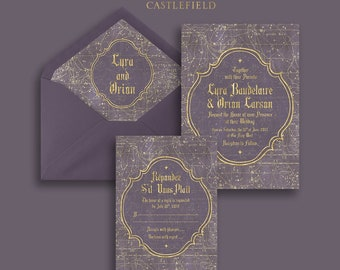 Castlefield Constellations Star Map Faux Gold Foil Wedding Event Invitation RSVP Menu Table Numbers Envelope Liner Customized Printable Luxu