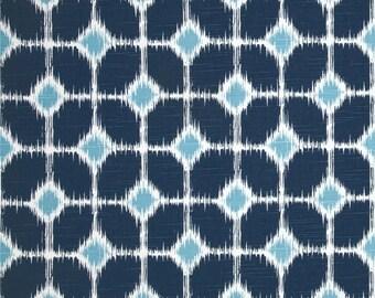 One and One Half Yard Sofie Slub Premier Navy Premier Prints Fabric - White, Medium Blue and Navy Home Dec Fabric