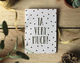 Ta Very Much - Thank You Card