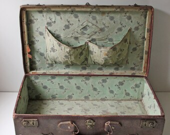 antique brown leather suitcase from 1900s
