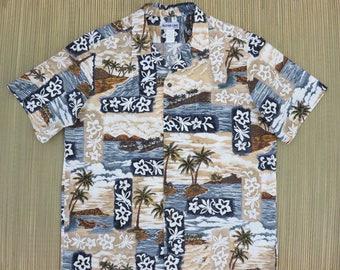 Mens Hawaiian Shirt ALOHA LINE Surfer Scene Outrigger Canoe Aloha Shirt Vintage Tropical Print 100% Cotton Camp - L - Oahu Lew's Shirt Shack