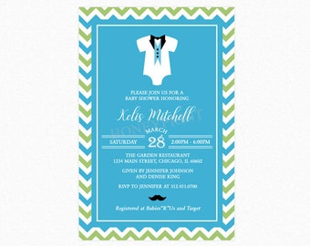 Little Man Baby Shower Invitation, Baby Onesie, Mustache, Personalized, Printable or Printed