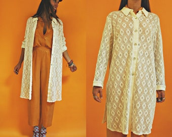 1980s Macrame Lace White Duster Topper Jacket