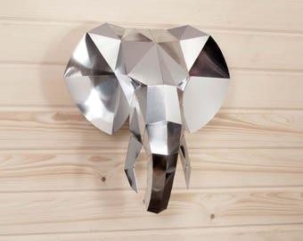 Elephant decor, Diy kit, 3d origami metal wall art, mirror wall decor, office decor, wall hanging metal sculpture, papercraft 3d, metal art.