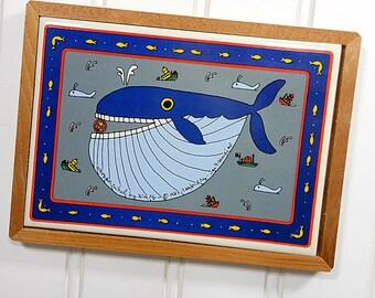 1982 Vintage Coastal Blue Whale Ocean Decor, Navy Blue, Tile Trivet,