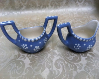 Single serving or doll sized creamer and sugar, blue and white, unmarked