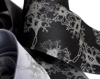 Neuron Print Necktie. Nerve Cell Printed Tie. Nervous Energy tie, Fried Brains. Silkscreened men's necktie. Brain researcher, science gift.