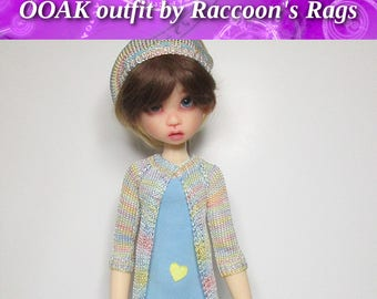 """OOAK  handmade set for Kaye Wiggs dolls.  """"A Sunny Heart"""" outfit.  Fits  TOBI body only.   Dress, stockings, cardigan, hat."""