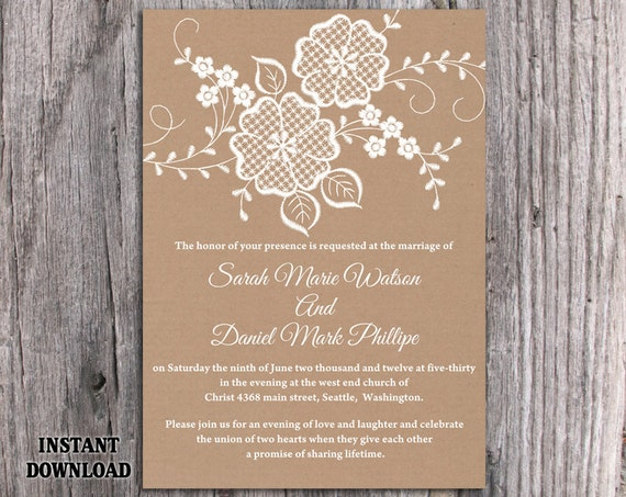 Lace Wedding Invitation Template: Lace Wedding Invitation Template Download Printable