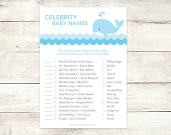 celebrity baby names matching game card printable whale waves baby boy shower blue grey baby shower digital games - INSTANT DOWNLOAD