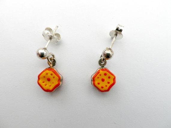 925 silver earrings with orange enamel flowers, in gift box