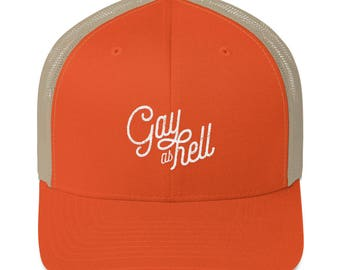 Queer as Hell: Trucker Cap, Queer, LGBT, Gay AF, Embroidered