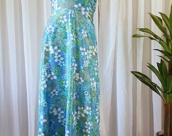 Polished Cotton 1970s Maxi Halter Dress