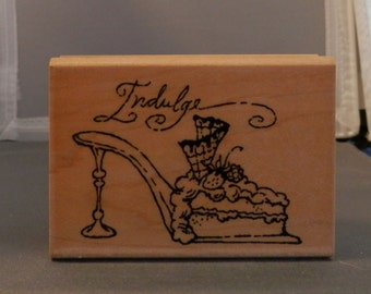 Indulge shoe rubber stamp