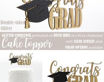 congrats GRAD cake topper, graduation cake topper, Glitter party decorations, cursive topper