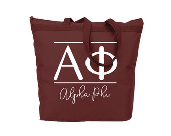 Alpha Phi Classic Tote Sorority Gift Sorority Tote Choose Your Colors!