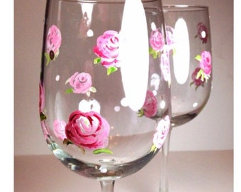 Set of 2, Hand Painted Wine Glasses, Shabby chic pink roses