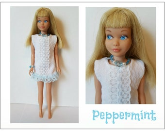 Vintage SKIPPER & SKOOTER Doll Clothes - PEPPERMINT Dress and Jewelry - Custom Fashion - by dolls4emma