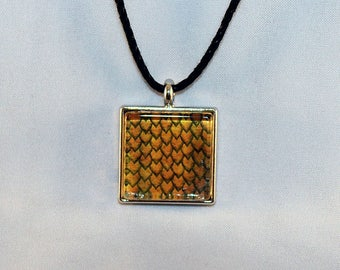 Yellow Handcrafted Glass Dragon Scale Necklace - Dragon Scales -  Yellow Dragon Scales - Glass Dragon Scales Necklace - 13-005C