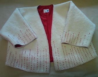 Filzjacke with red nodule embroidery on white fond; Felt jacket with red knotted embroidery on white background