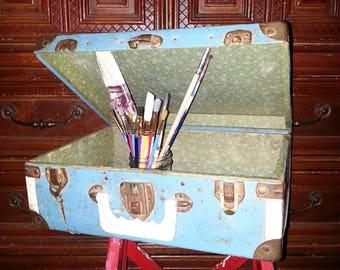 Vintage Rusty Blue Suitcase