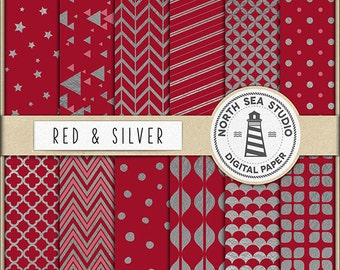 BUY 5 GET 3 FREE | Silver Foil Digital Paper Pack | Red And Silver Paper | Printable Backgrounds | 12 Jpg, 300 Dpi Files | BUY5FOR8