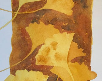 "Original watercolor painting ""Ginkgo"" golden yellow leaves"
