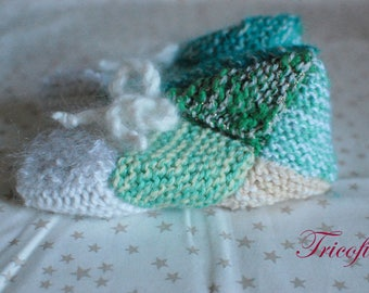 Green and white booties hand knitted kids